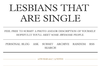 Lesbians That Are Single
