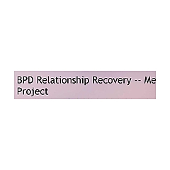 BPD Relationship Recovery -- Me Project