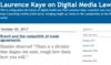 Laurence Kaye on Digital Media Law