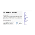Case Reports in Anesthesia